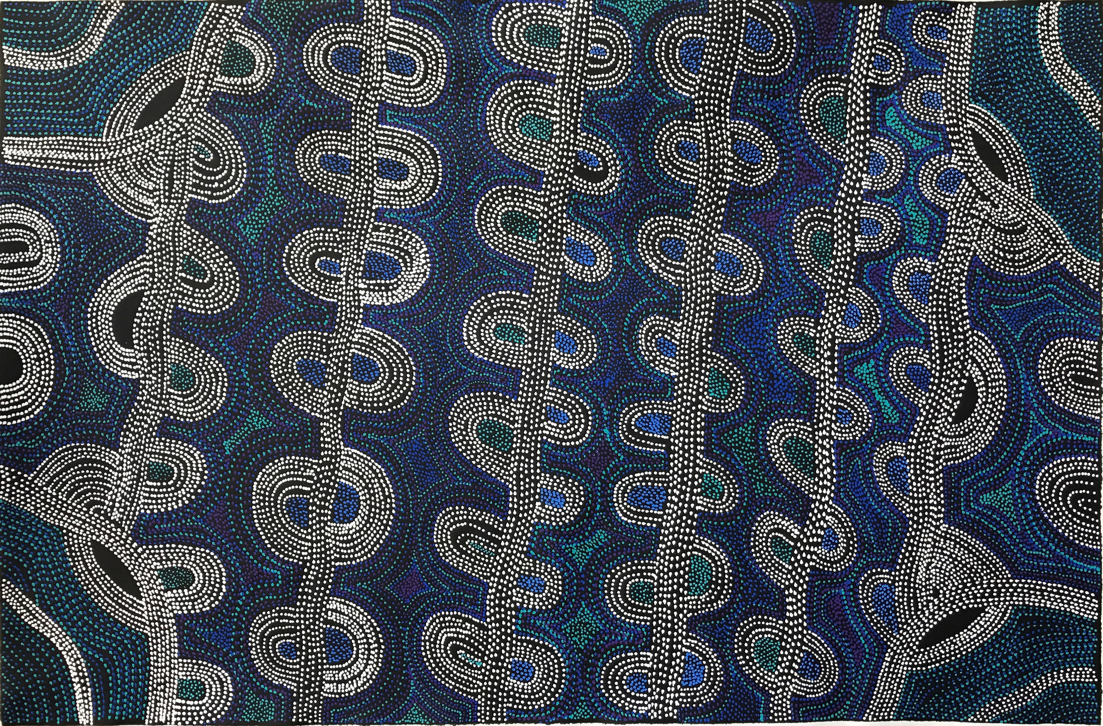blue aboriginal art paintings water u0026 rain at japingka gallery